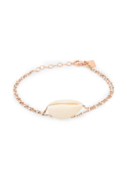 Armband in rosé zilver, dubbele blokjesketting, schelp