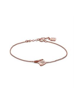 Bracelet en argent rosé, feuille ginko biloba