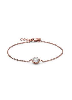 Armband in rosé zilver, 1 zirkonia, 8 mm