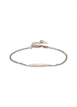 Armband in rosé zilver, veer, 3 cm
