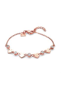 Armband in rosé edelstaal, 4 hartjes, 5 kristallen