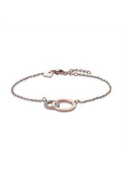 Bracelet en acier poli rosé, 2 cercles, cristaux