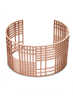 Rosé stainless steel bracelet, open bangle, open squares and rectangles