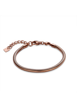 Armband in rosé edelstaal, slangenketting 3 mm