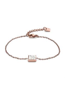 Bracelet en acier poli rosé, carré blanc en impression de marbre