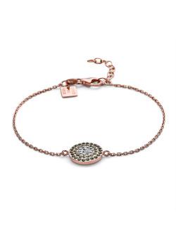 Armband in rosé zilver, ronde met witte en bruine kristallen