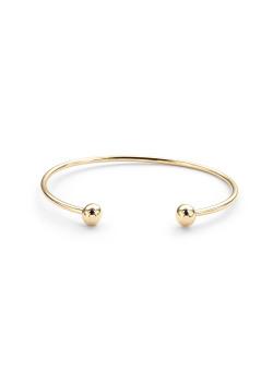 High fashion rigide armband, 2 bollen van 7 mm, goudkleur