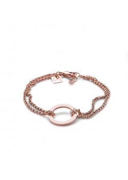 armband in rosé edelstaal, dubbele ketting en cirkel