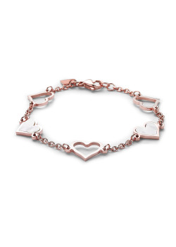 armband in rosé edelstaal, hartjes