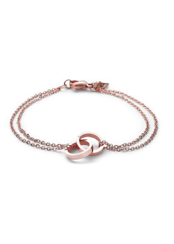rosé stainless steel bracelet, double chain, double circle