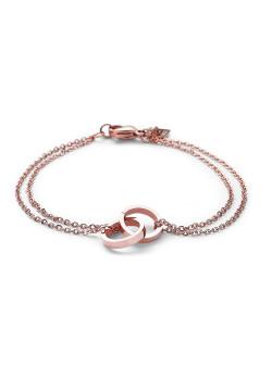 Bracelet en acier rosé, double chaîne, anneaux enlacés.