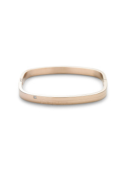 armband in rosé edelstaal, rechthoekig model, kristal en Endless Love