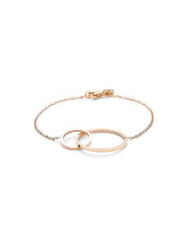armband in rosé edelstaal, 2 cirkels ineen