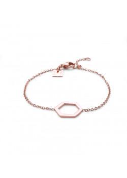 armband in rosé edelstaal, open zeshoek