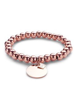 armband in rosé edelstaal, bollen van 8 mm, ronde