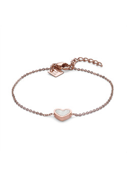 Rosé stainless steel bracelet, mother of pearl heart