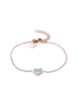 Armband in rosé edelstaal, turquoise hart