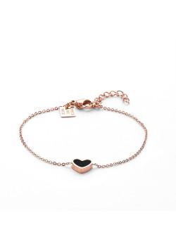 Armband in rosé edelstaal, zwart hart