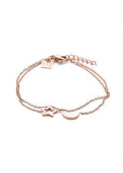 Armband in rosé edelstaal, maan en ster