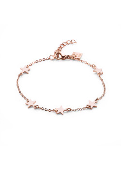Rosé stainless steel bracelet, 5 little stars