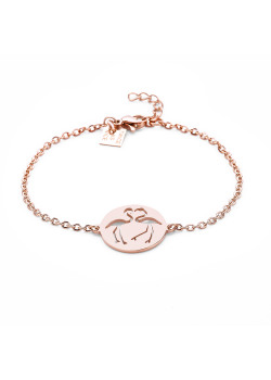 Armband in rosé edelstaal, flamingo