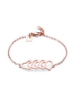 Armband in rosé edelstaal, 4 harten