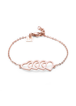 Bracelet en acier poli rosé, 4 coeurs