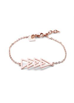 Armband in rosé edelstaal, 4 driehoeken