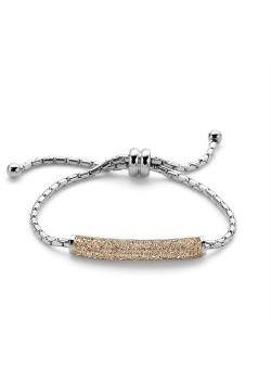 Armband in edelstaal, perzik kristallen