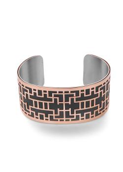 Armband in rosé edelstaal, zwart leer