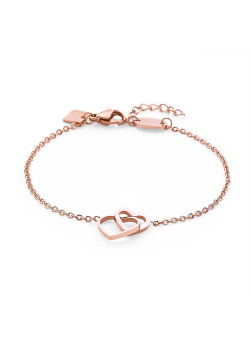 Rosé stainless steel bracelet, open hearts