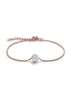 Armband in rosé zilver, witte kristallen bol van 7 mm