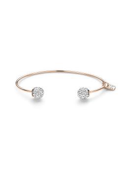 Bracelet Jonc en argent rosé, motif boules incrustées de cristaux scintillants