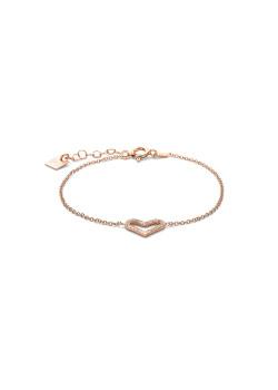 armband in rosé zilver, open hartje