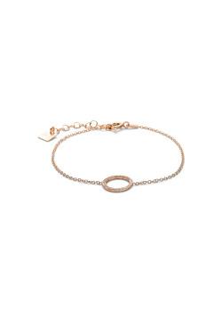 armband in rosé zilver, gehamerde cirkel van 11 mm