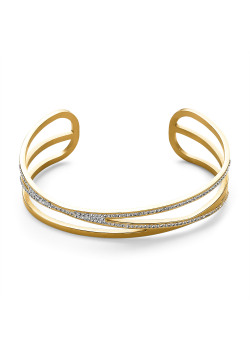 Gold-coloured stainless steel bracelet, open bangle, 3 rows, crystals