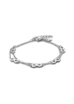 Bracelet en acier poli, double chaîne avec 5 symboles infini