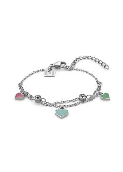 Armband in edelstaal, 3 hartjes roze/blauw/turquoise, 2 kristallen