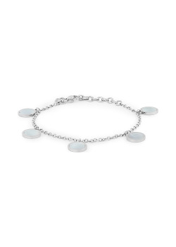 Stainless steel bracelet, 5 rounds, mother of pearl