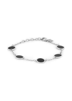 Armband in edelstaal, 5 zwarte rondjes