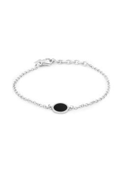 Armband in edelstaal, zwart rondje