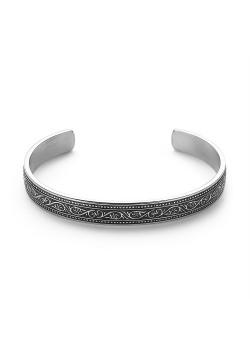 Bracelet en acier poli, jonc avec dessin, noir