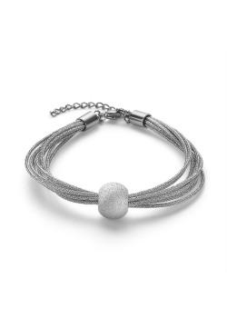 Bracelet en acier poli, 8 cordes, boule martellée