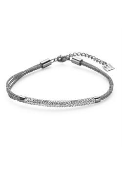 Armband in edelstaal, 4 rijen, buis met kristallen