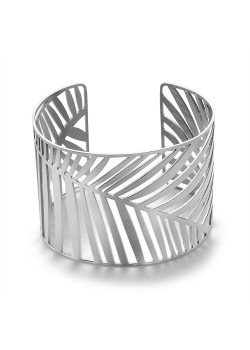 Stainless steel bracelet, wide bangle, leaf