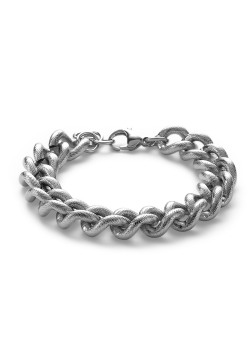 Stainless steel bracelet, hammered links chain