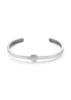 Stainless steel bracelet, open bangle, round with crystals