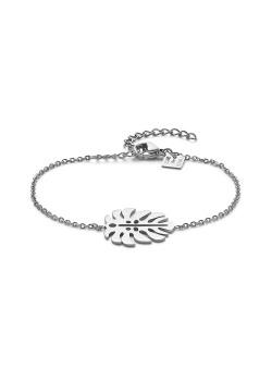 Armband in edelstaal, blad motief
