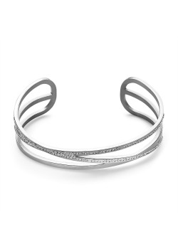 Armband in edelstaal, open bangle, 3 rijen, kristal