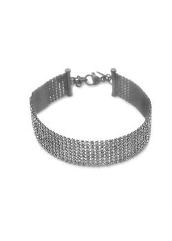 Armband in edelstaal, 8 rijen preciosa kristallen